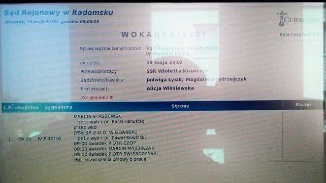Sąd Pracy Radomsko sprawa Marcin Staszewski przeciwko JYSK Sp. z o.o.